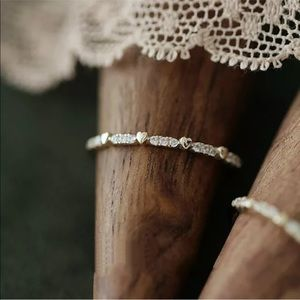 Minimalist white sapphire heart ring size 5